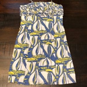 Lilly Pulitzer sailboat strapless dress